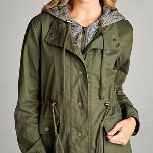 ACTIVE USA OLIVE AND GREY CONTRAST UTILITY JACKET
